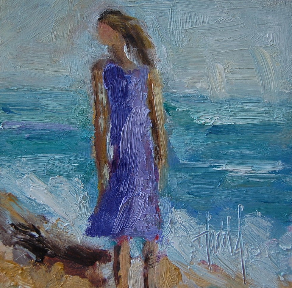 """Girl in Purple"" original fine art by Deborah Harold"