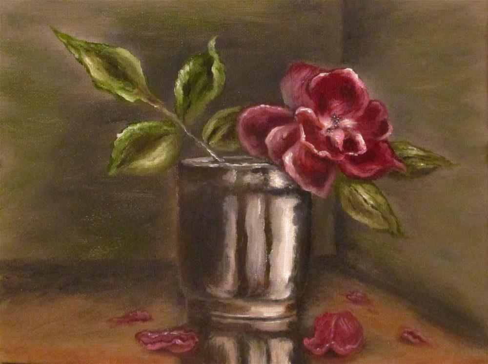 """Red Rose In Vase v1"" original fine art by Mary Sylvia Hines"