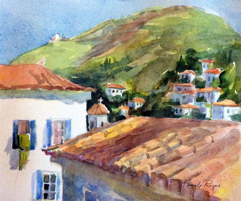 """Hydra Rooftop View"" original fine art by Pamela Jane Rogers"