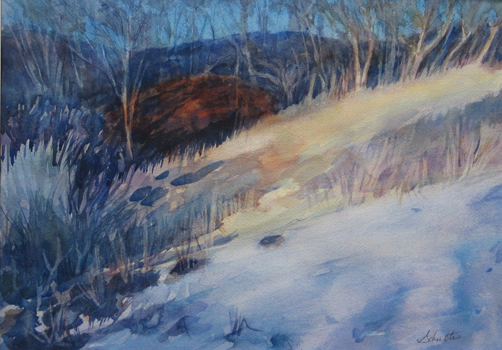 """Matted Sunlit Winter Day"" original fine art by Lynne Schulte"