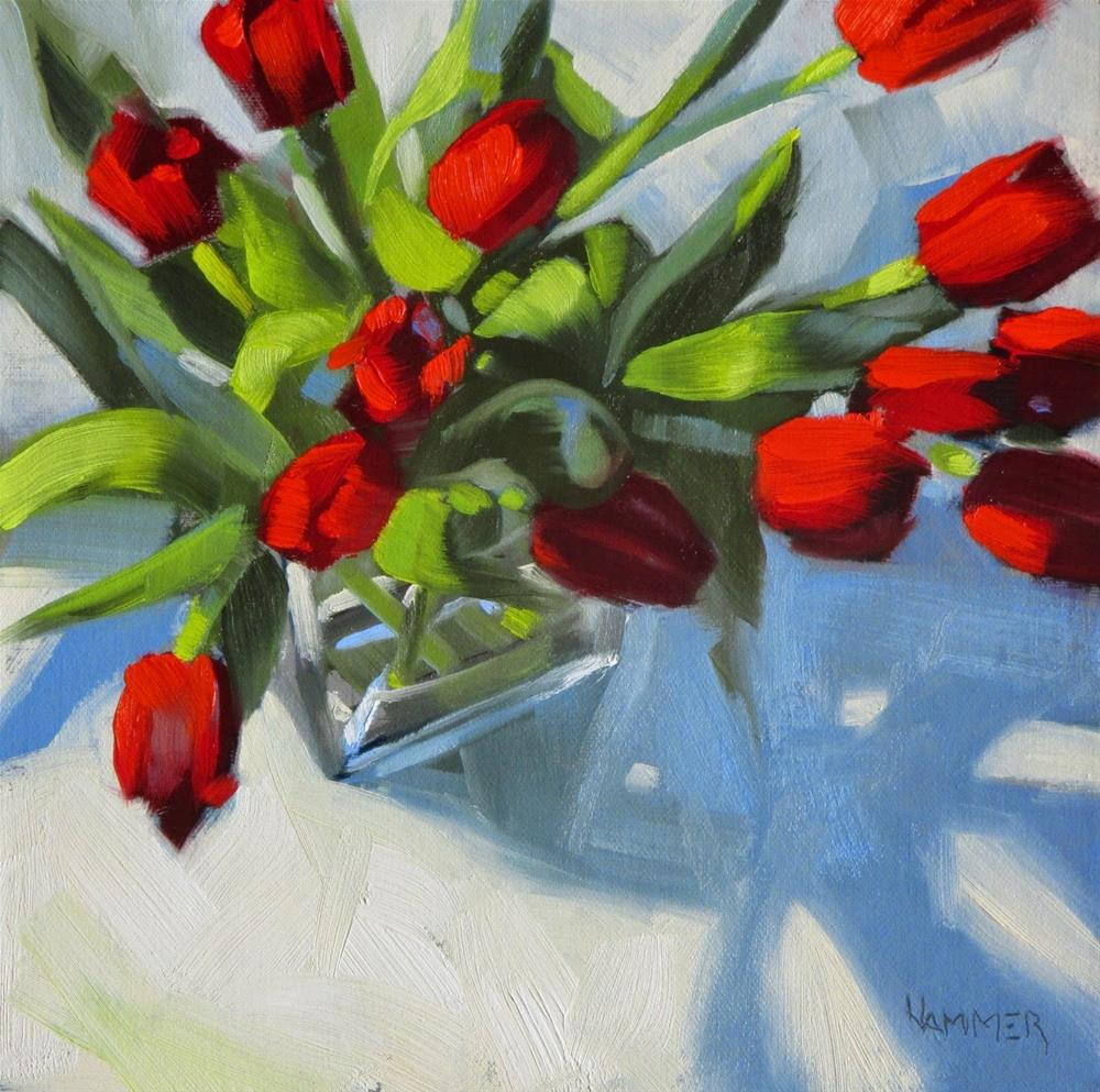 """Tulips, a bakers dozen 8 x 8 oil"" original fine art by Claudia Hammer"
