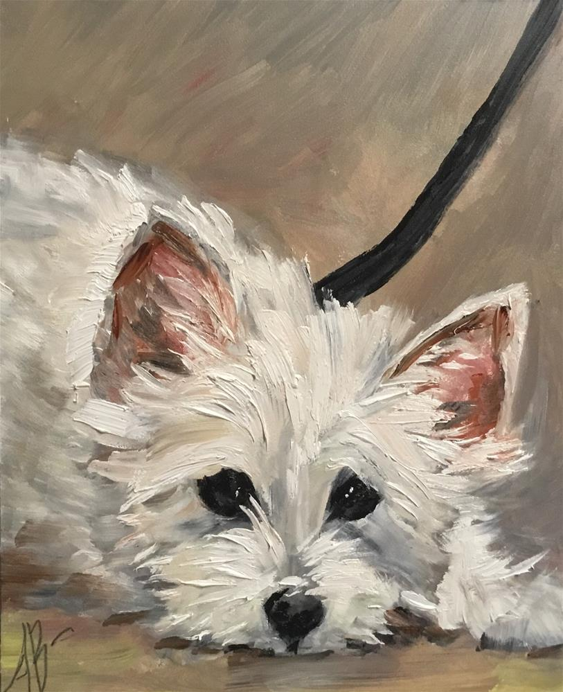 """Black leash / White puppy"" original fine art by Annette Balesteri"