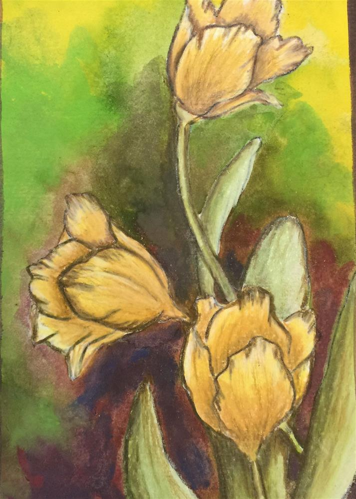 """Yellow flowers"" original fine art by Barbara Beckmann"