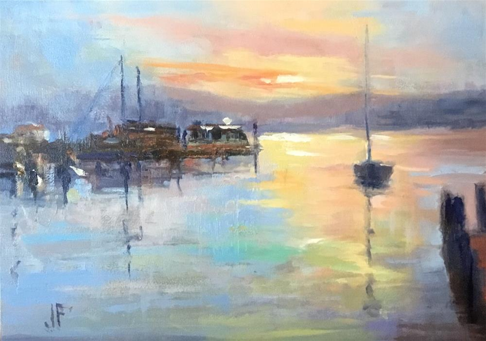 """Marina at Sunset"" original fine art by Jean Fitzgerald"