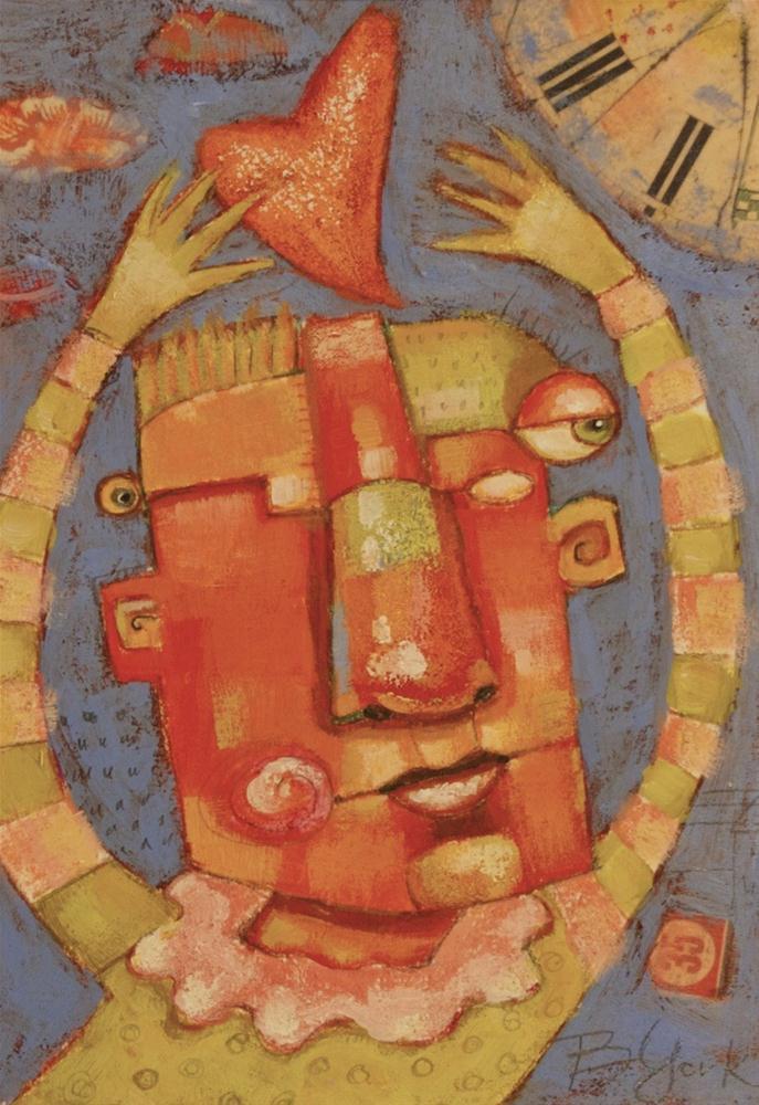 """""""Milton Moonlights As A Juggler Of Hearts"""" original fine art by Brenda York"""