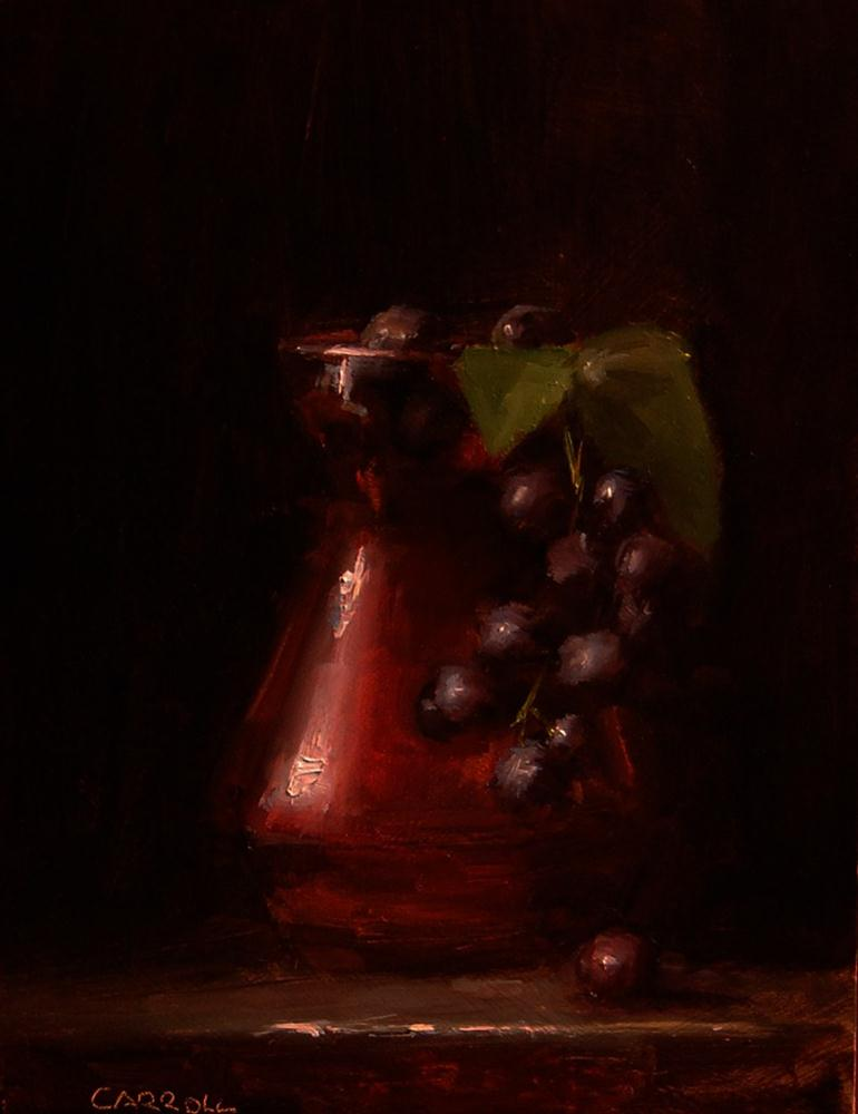 """Glass Vase with Hanging Grapes"" original fine art by Neil Carroll"