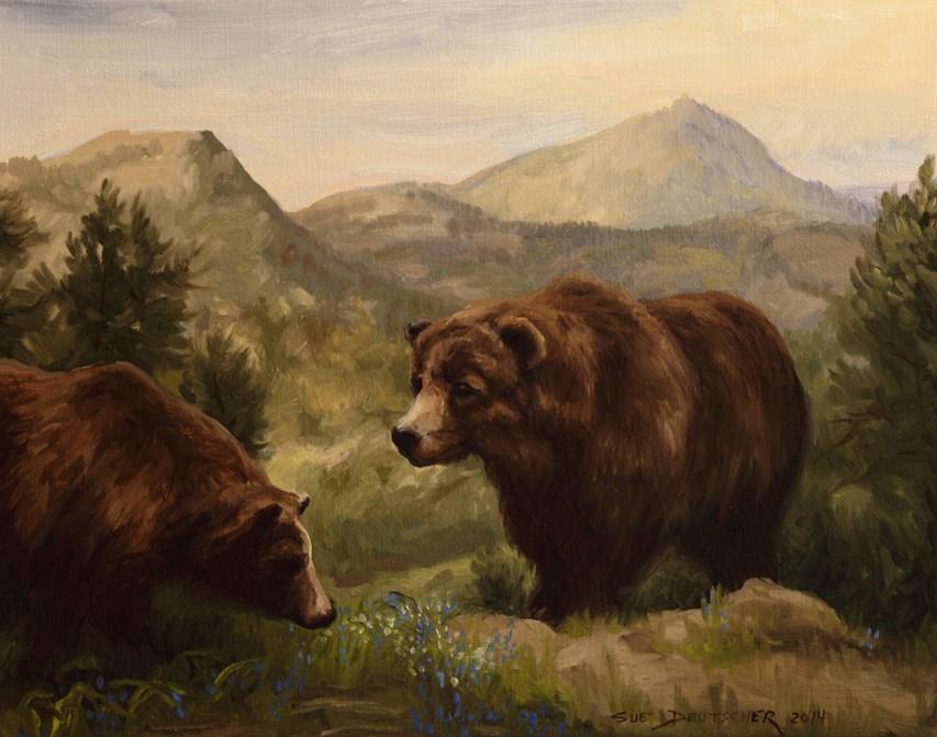 """""""Grizzly"""" original fine art by Sue Deutscher"""