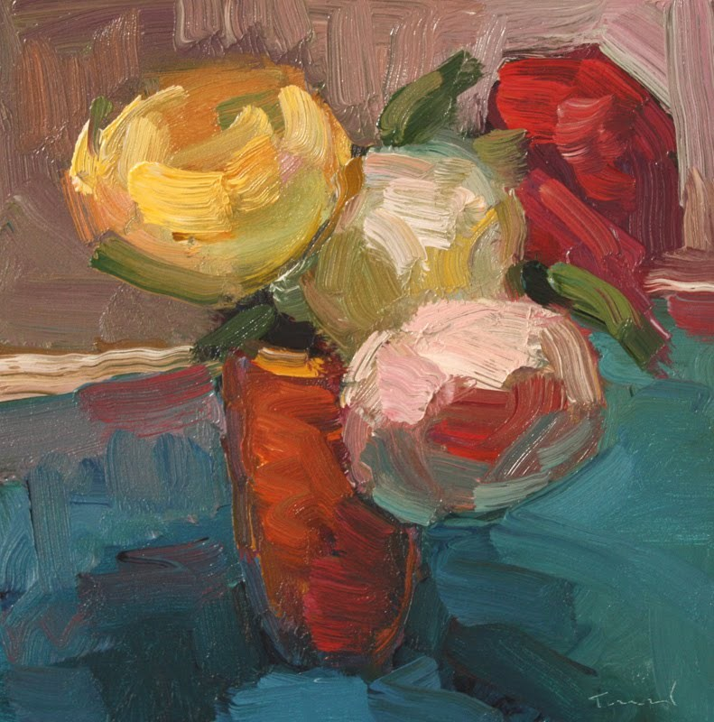 """Flowers in Orange Vase"" original fine art by Kathryn Townsend"