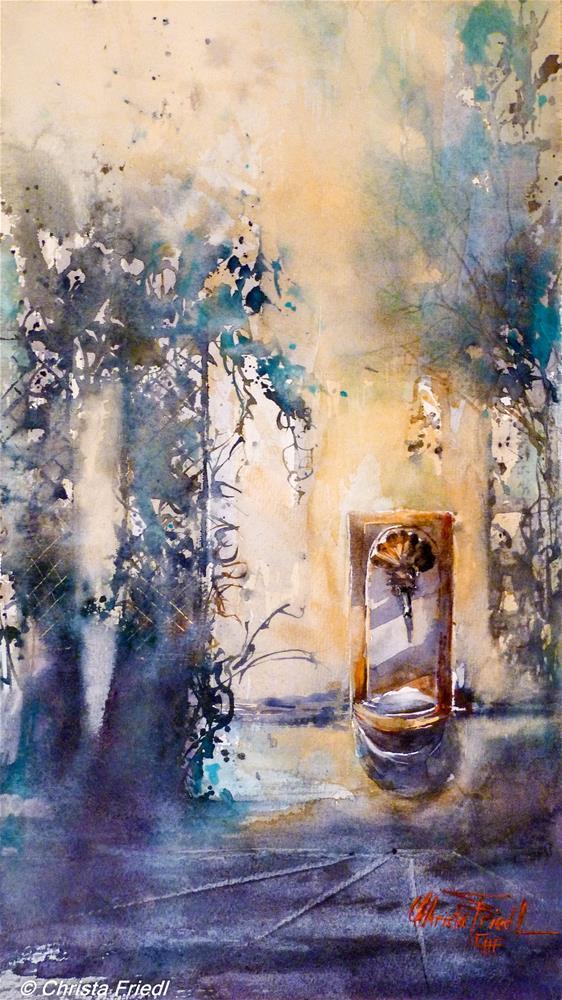 """""""Bassena inner courtyard"""" original fine art by Christa Friedl"""