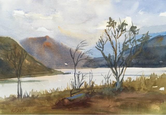"""Lake Hodges"" original fine art by Katharine Engh"