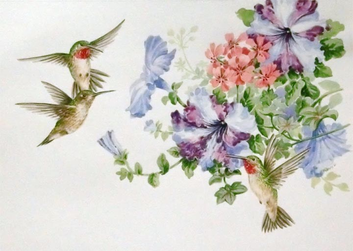 """Ruby Throated Hummingbirds"" original fine art by Jean Pierre DeBernay"