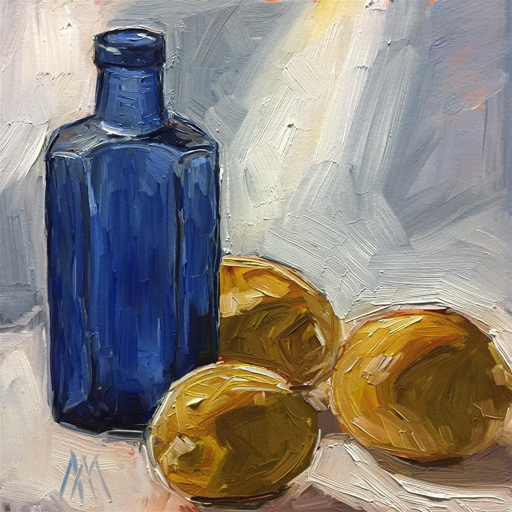 """Blue Bottle & Lemons"" original fine art by Austin Maloney"