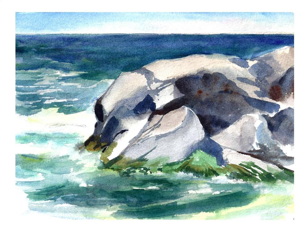 """Rocks at Christmas Cove  Monhegan Island Maine"" original fine art by Suzanne Woodward"
