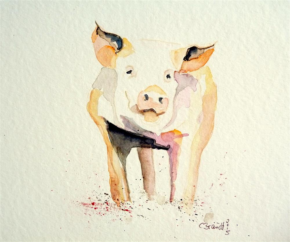 """happy pig"" original fine art by Claudia Brandt"