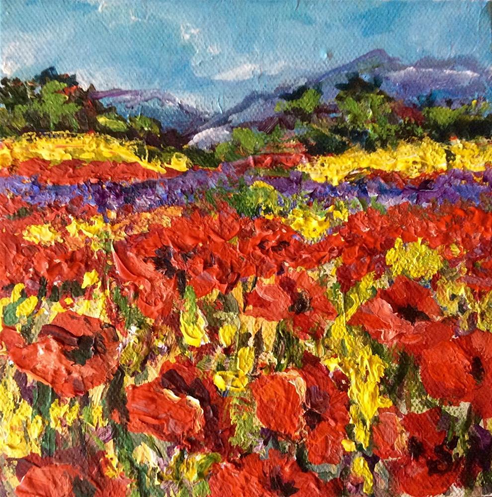 """""""Provence poppies landscape"""" original fine art by Sonia von Walter"""