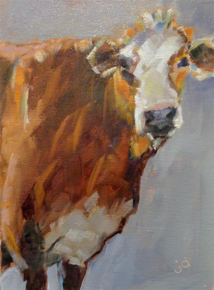 """Cow 27...Full bodied"" original fine art by Jean Delaney"