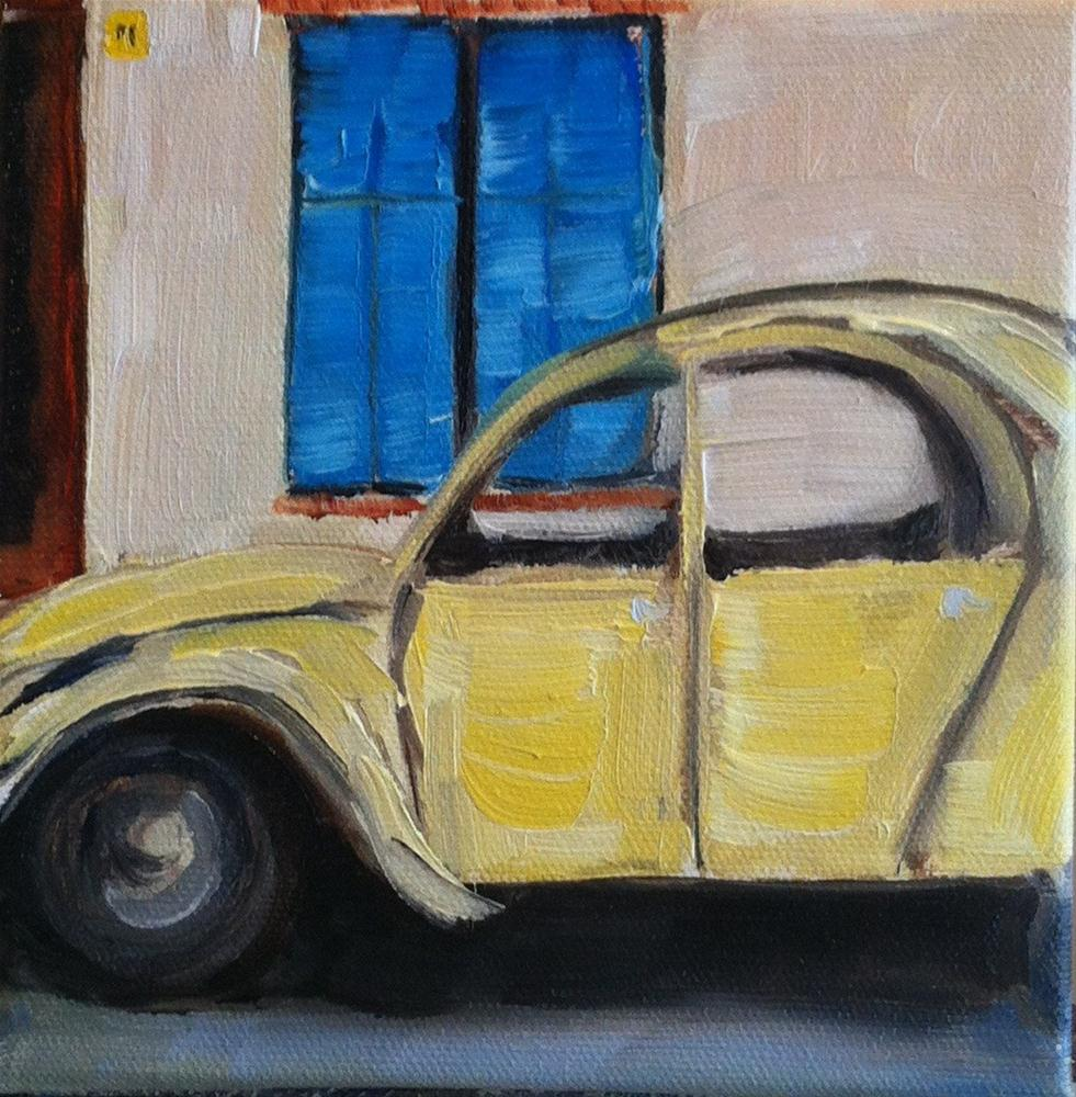 """Yellow Car"" original fine art by Karen D'angeac Mihm"