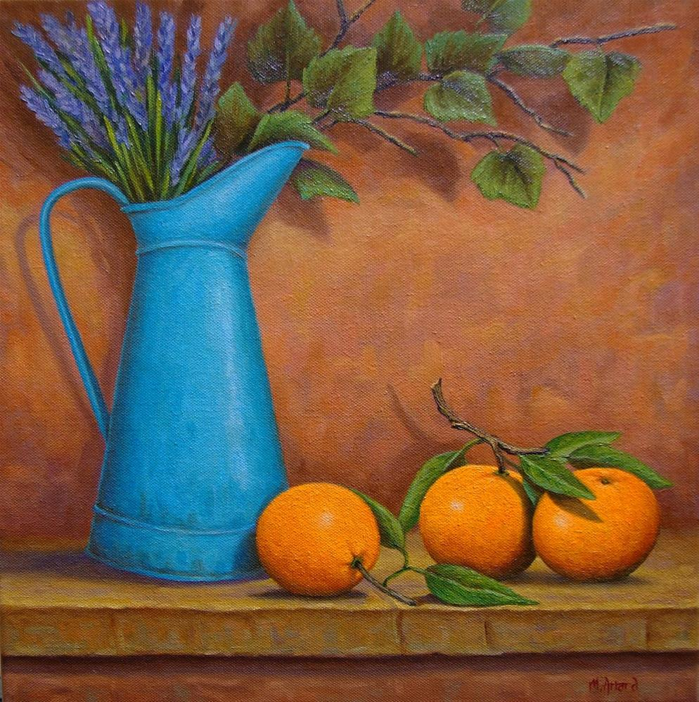"""French Pitcher with Lavender and oranges"" original fine art by Mark  Attard"
