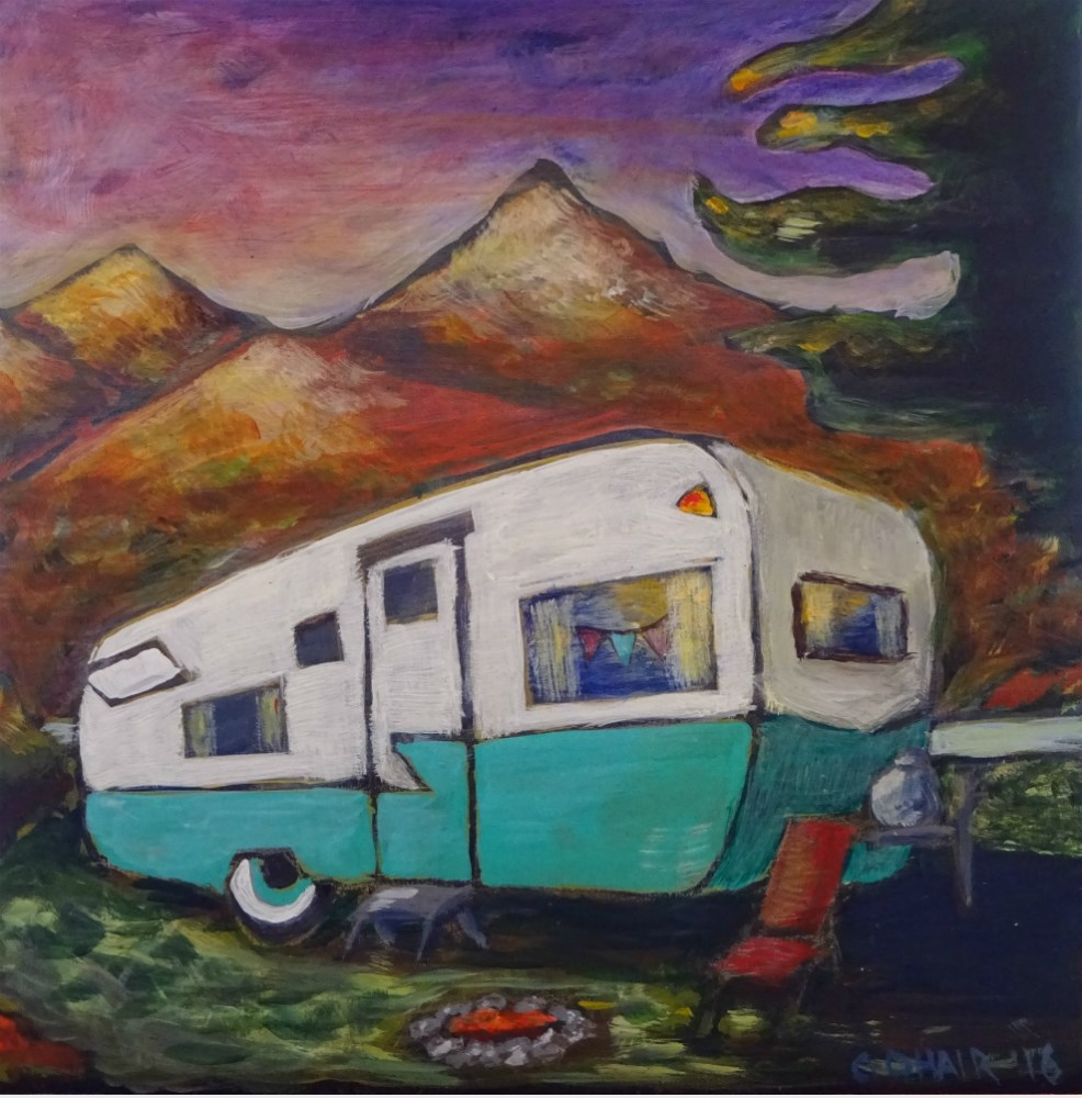 """Retro camper - SOLD"" original fine art by Colleen OHair"