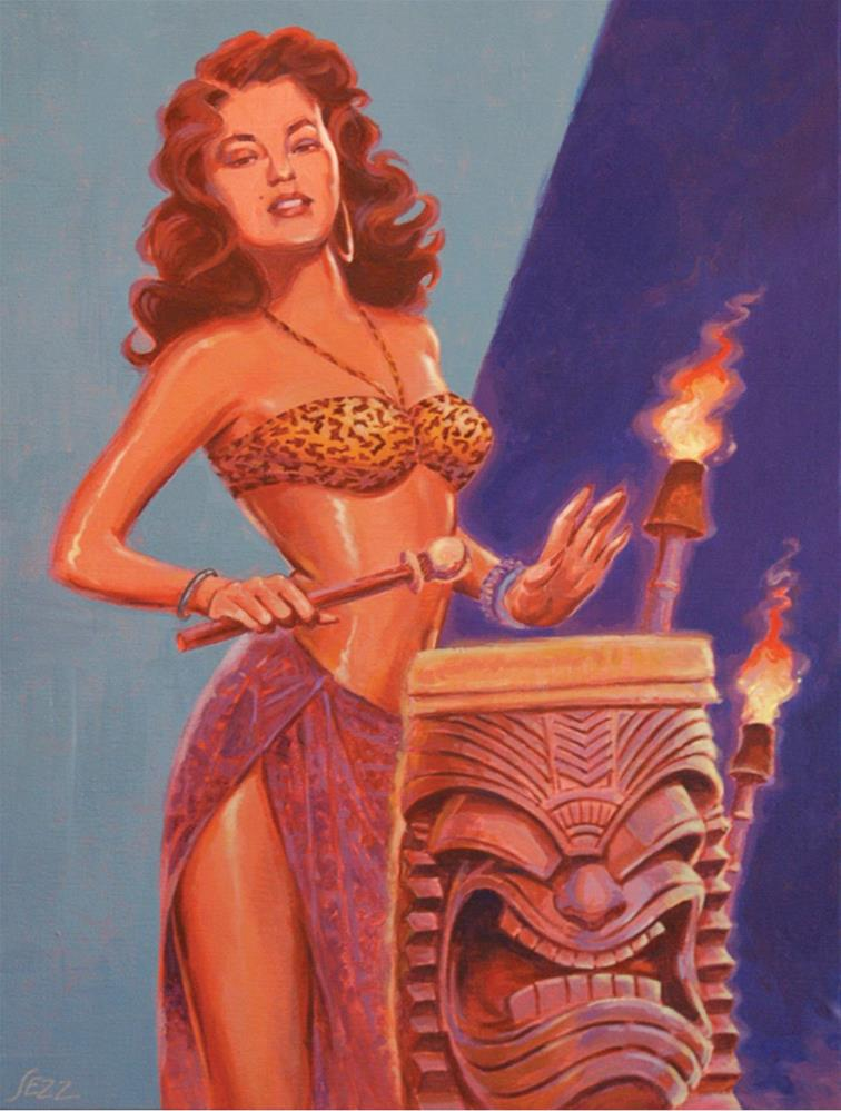 """""""Tiki Tarts- Jungle Drum Beats"""" original fine art by Shawn Shea"""