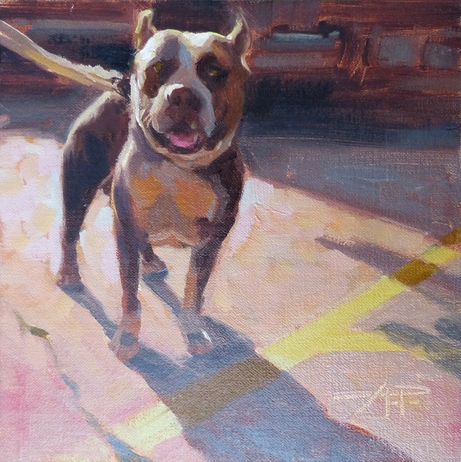 """4 of 30 - Dogs and Cars - Proud Pit"" original fine art by Anette Power"