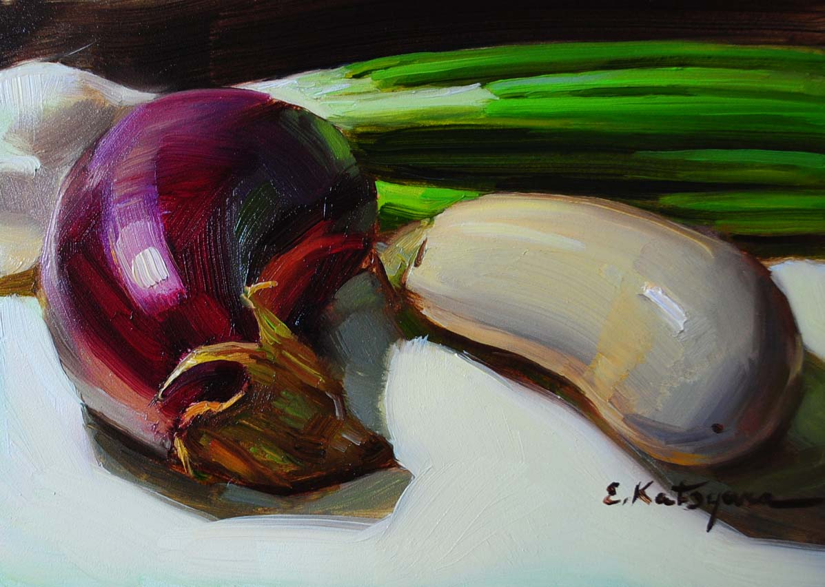 """Eggplants"" original fine art by Elena Katsyura"