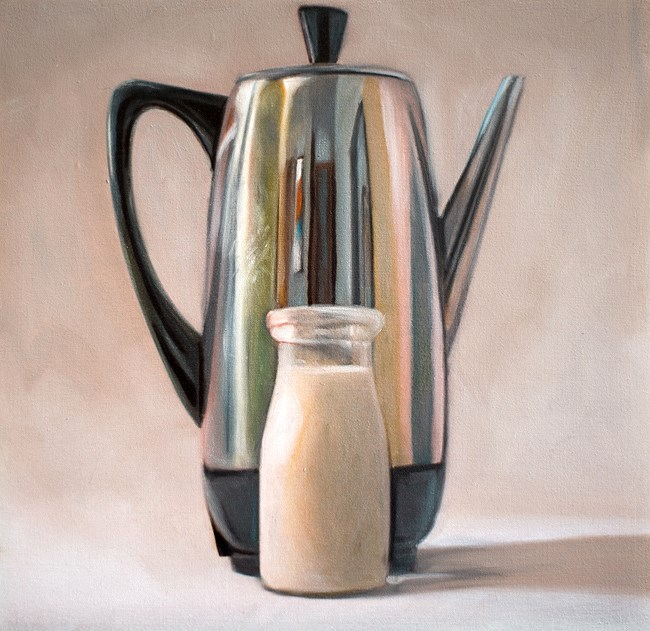 """Coffee Percolator and Cream"" original fine art by Lauren Pretorius"