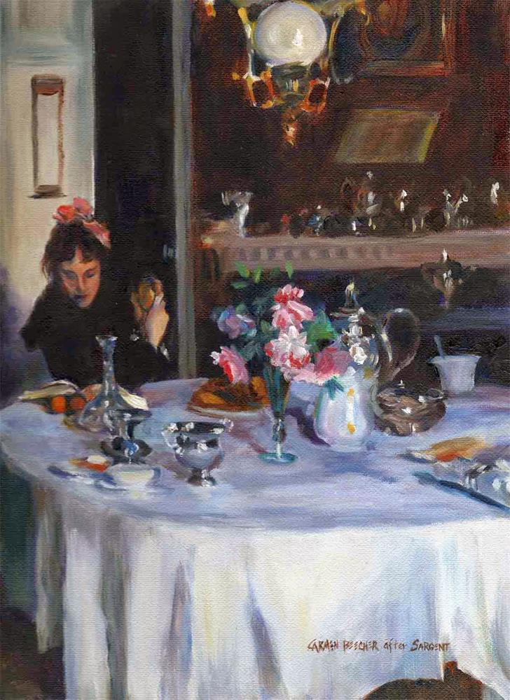 """The Breakfast Table, after John Singer Sargent"" original fine art by Carmen Beecher"