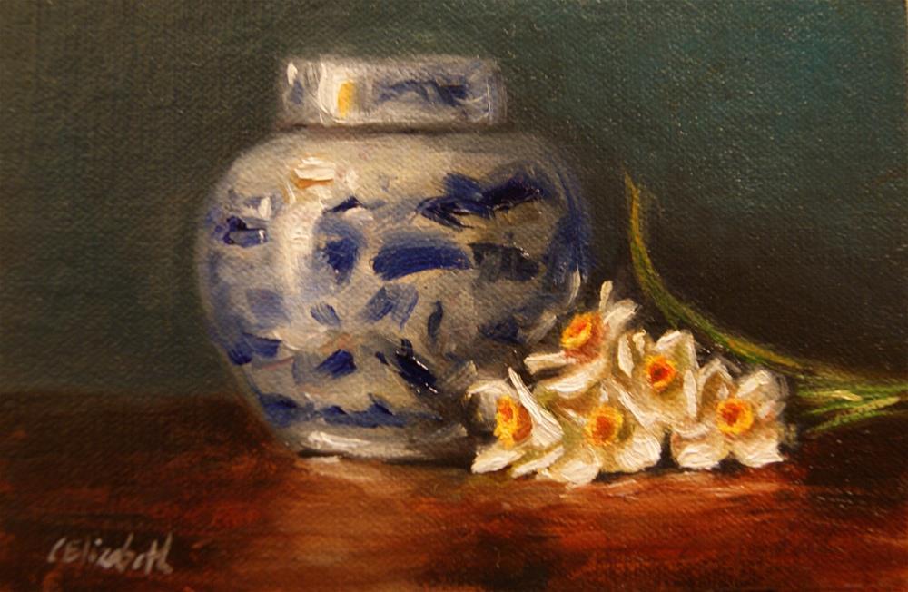 """Ginger Jar and Tazettas,  Oil on 4x6 Linen Panel"" original fine art by Carolina Elizabeth"