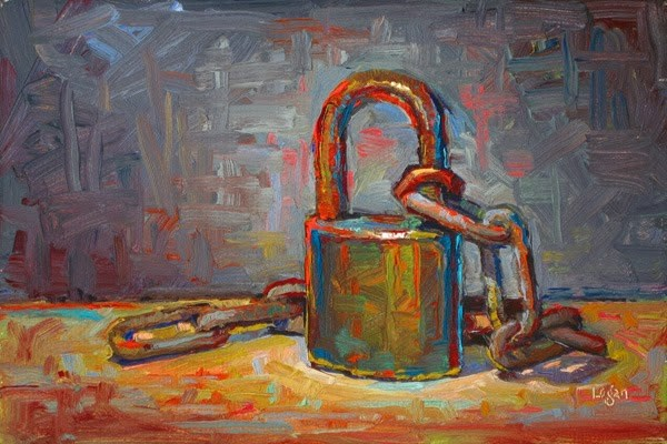 """Lock and Chain"" original fine art by Raymond Logan"
