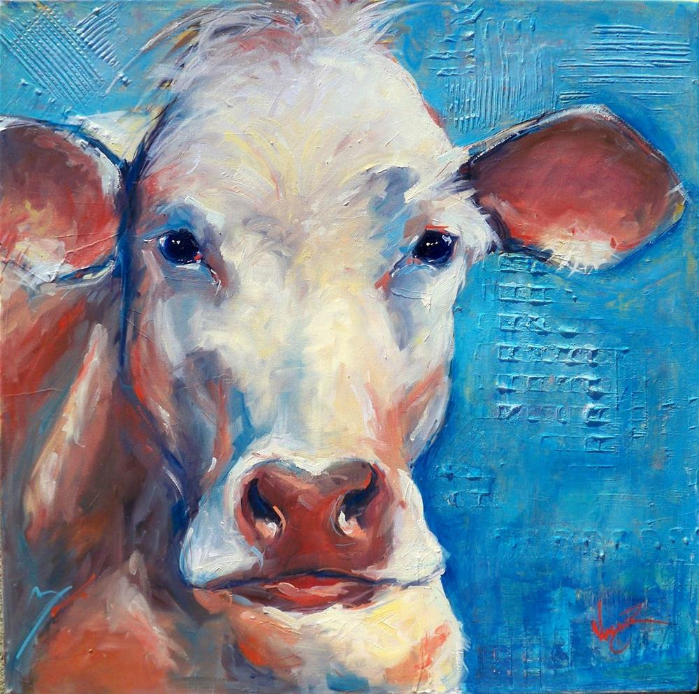 """CONTEMPORARY COW PAINTING"" original fine art by Olga Wagner"