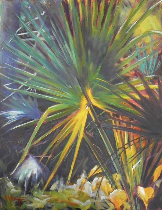 """""""Tropical Landscape Painting, Daily Painting, Golden Palm by Carol Schiff, 16x20 Oil, SOLD"""" original fine art by Carol Schiff"""