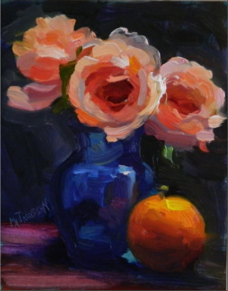 """Drama Queens, 8x10, oil on panel, coral, peach, roses, impressionist roses, drama, MAryanne Jacobs"" original fine art by Maryanne Jacobsen"
