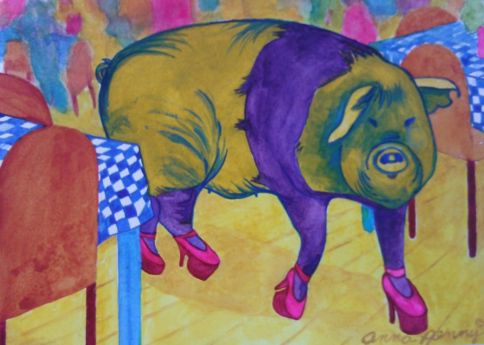 """Hog in High Heels"" original fine art by Anna Penny"