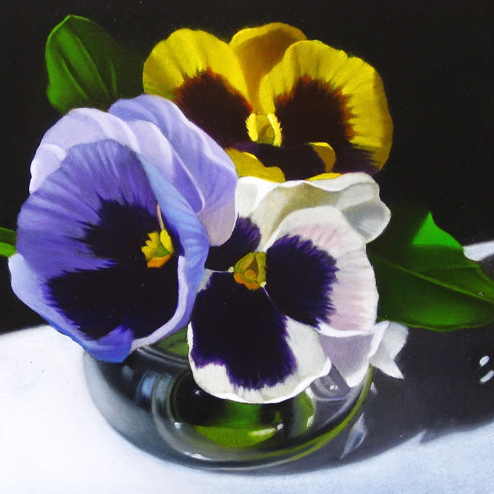 """Little Pansies 4x4"" original fine art by M Collier"
