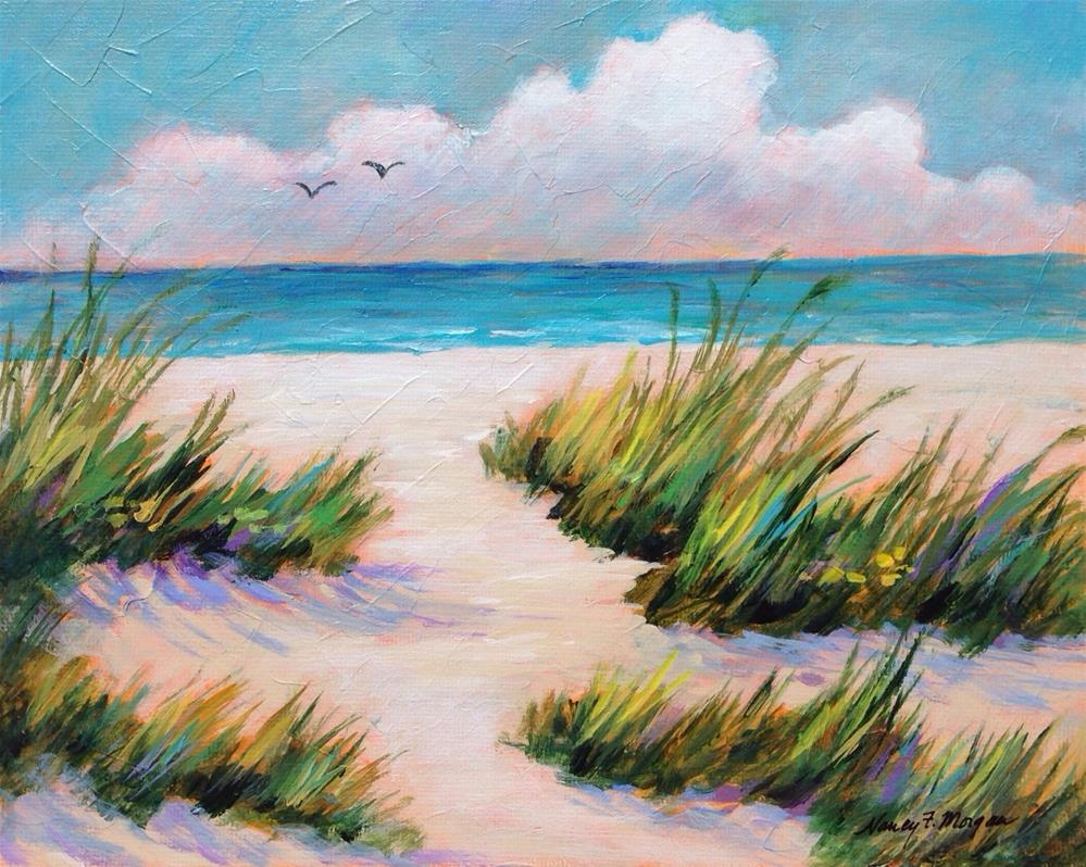 """Windy Beach"" original fine art by Nancy F. Morgan"