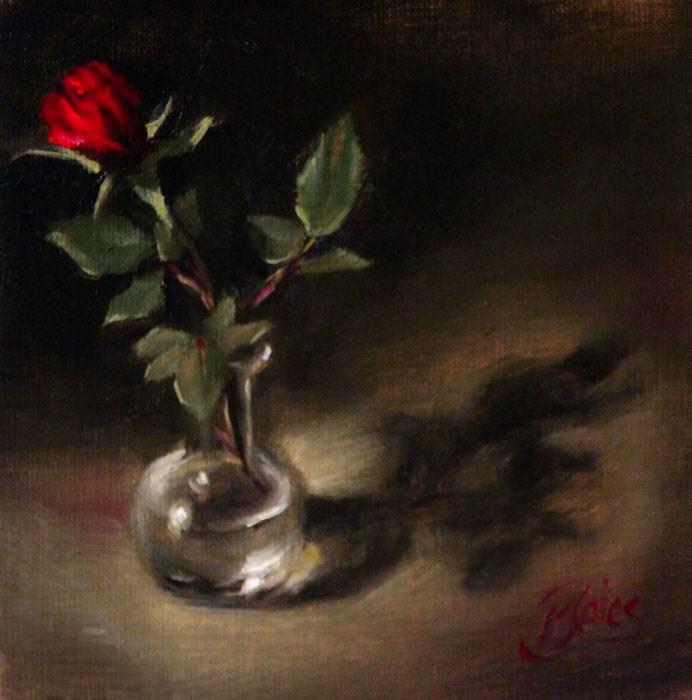 """Red Rosebud"" original fine art by Pamela Blaies"
