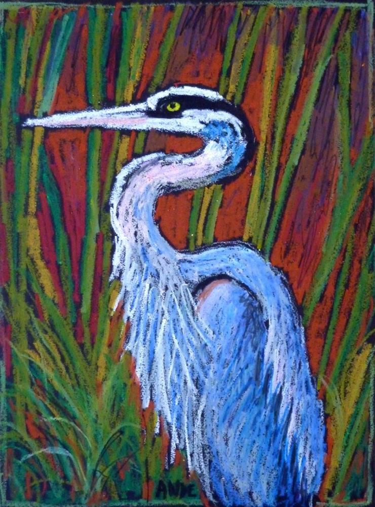 """Great Blue Heron"" original fine art by Ande Hall"