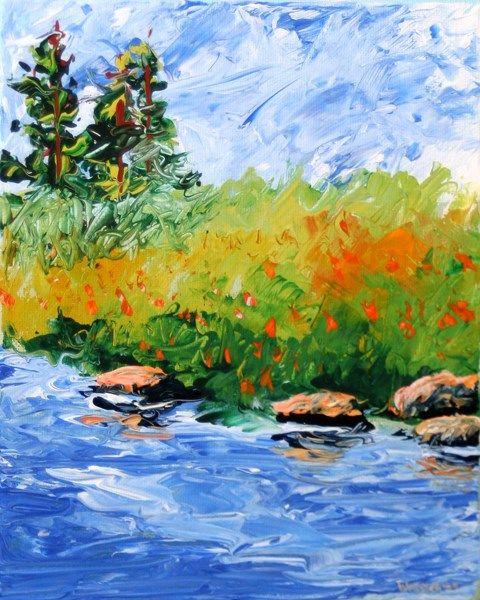 """Mark Adam Webster - Foothill River Abstract Palette Knife Acrylic Painting"" original fine art by Mark Webster"