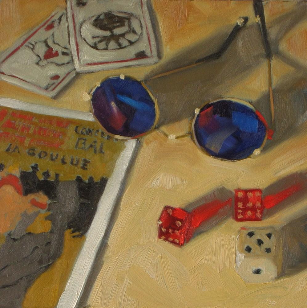 """Souvenirs from Paris 6x6 oil"" original fine art by Claudia Hammer"
