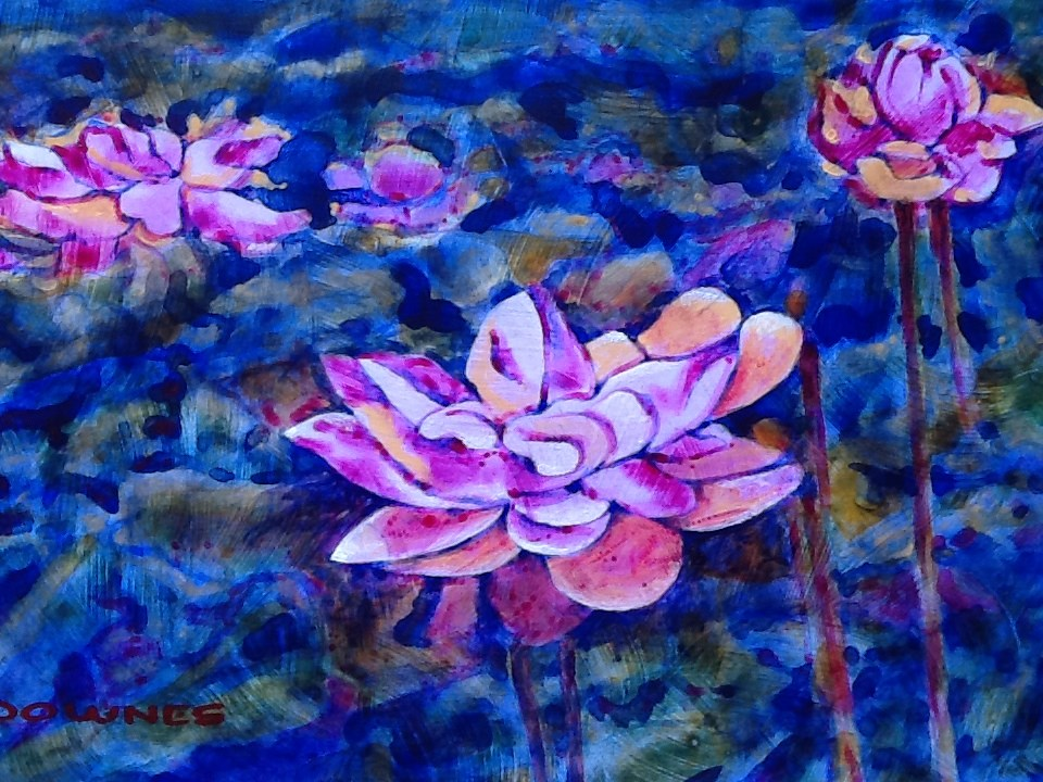 """032 WATERLILLY 5"" original fine art by Trevor Downes"