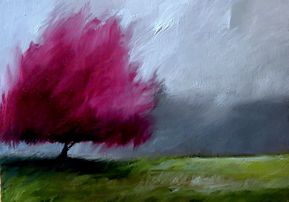 """A Lone Redbud Tree"" original fine art by Bob Kimball"