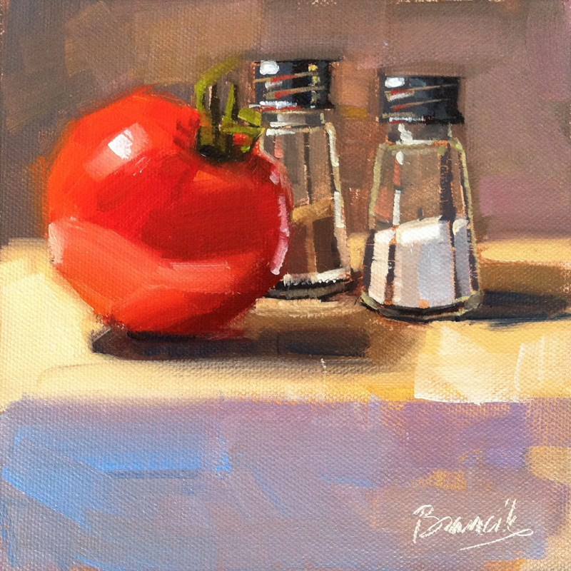 """Salt, Pepper & Tomato"" original fine art by Candace Brancik"