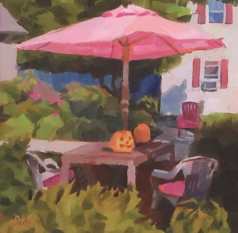 """Jack And The Pink Umbrella"" original fine art by Deborah Ann Kirkeeide"