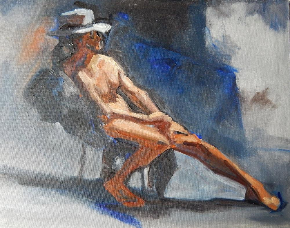 """Evening Model with a Hat"" original fine art by Megan Schembre"