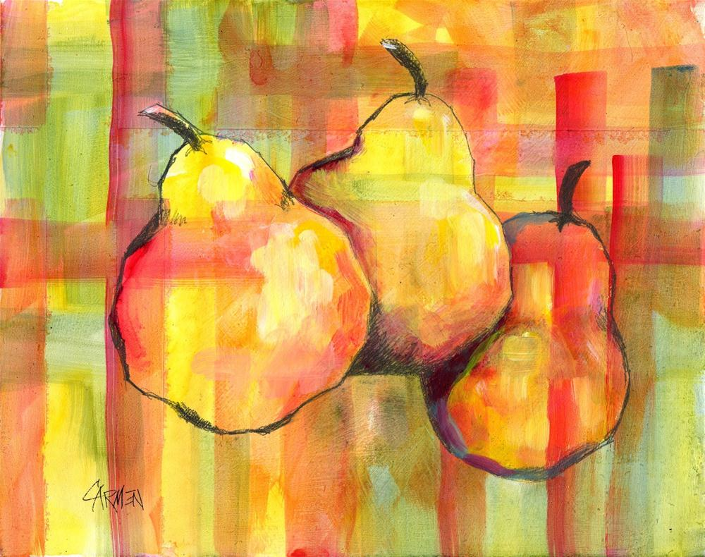 """Plaid Pears, 8x10 Mixed Media"" original fine art by Carmen Beecher"