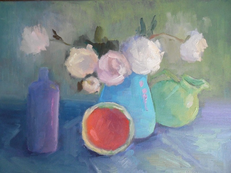 """Daily Painting, Small Oil Painting, Floral with Melon Still Life, 14x18x.75 Oil"" original fine art by Carol Schiff"