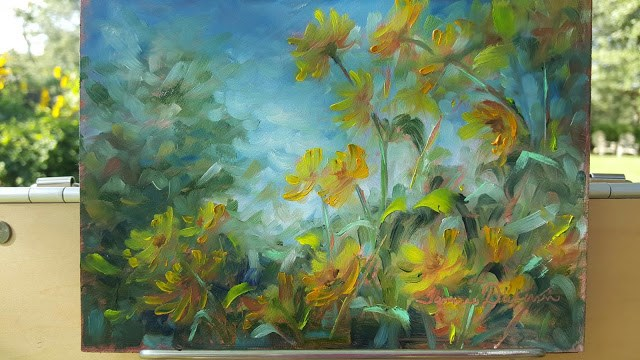 """September Sunflowers"" original fine art by Tammie Dickerson"