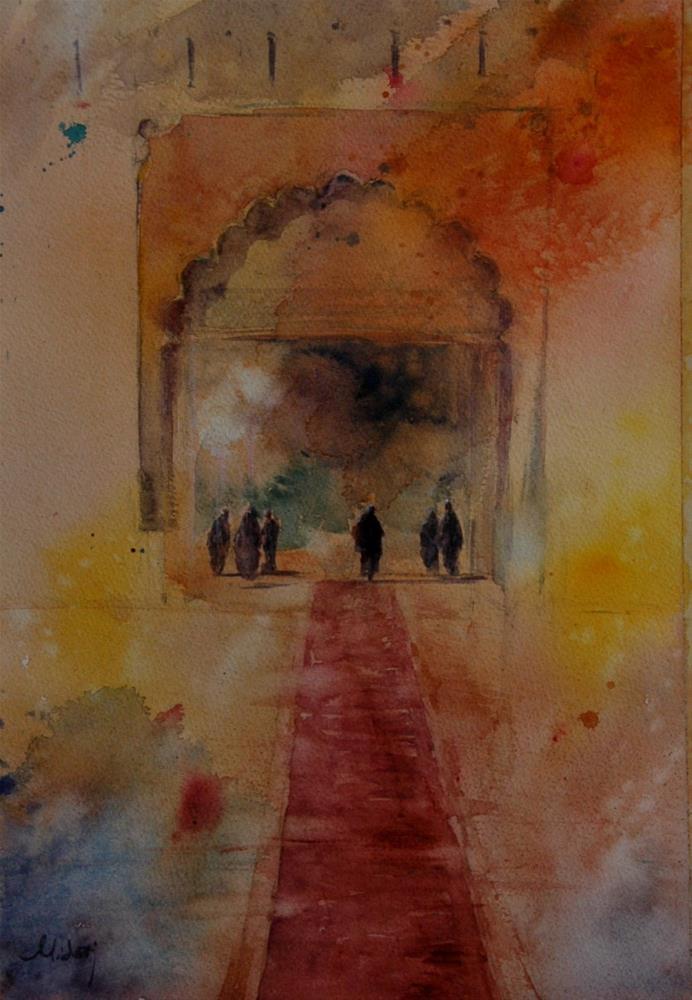 """Jahili Fort, Al Ain.After concert"" original fine art by Midori Yoshino"