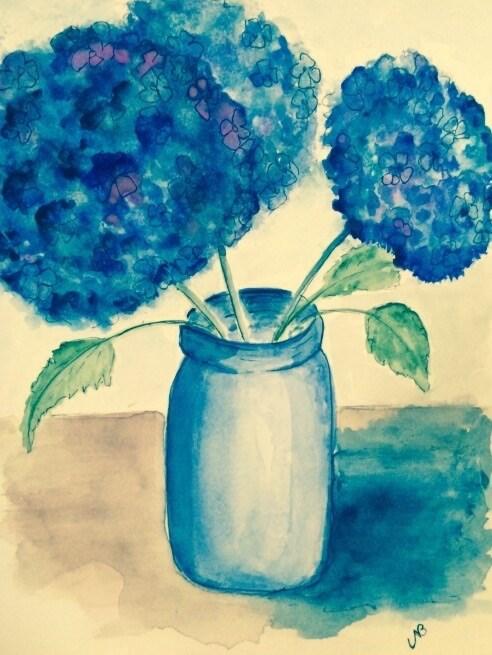 """""""Hydrangea # 6 watercolor ink 8 x 6"""" original fine art by Nancy Beard"""